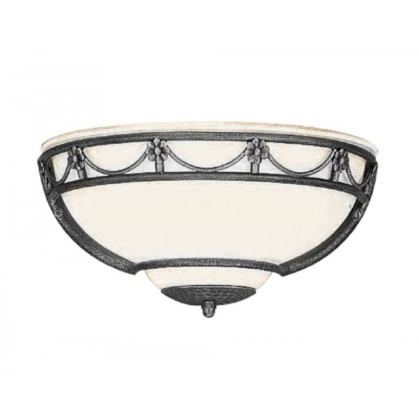 Wall Washer with Opal White Glass Shade and Forged Black Surround