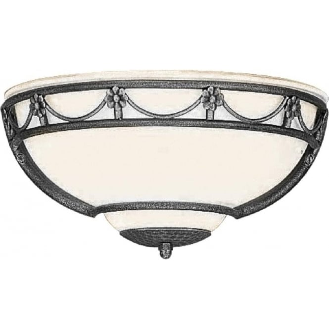 Chester Collection CARISBROOKE traditional opal glass uplighter wall light with black surround