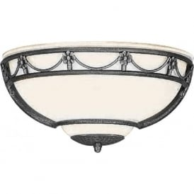 CARISBROOKE traditional opal glass uplighter wall light with black surround