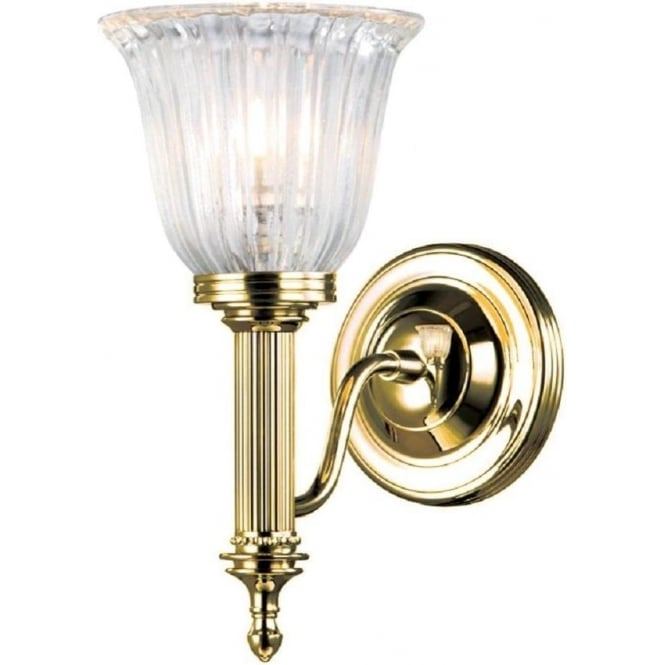 Victorian Or Edwardian Gold Polished Brass Wall Light With Glass Shade