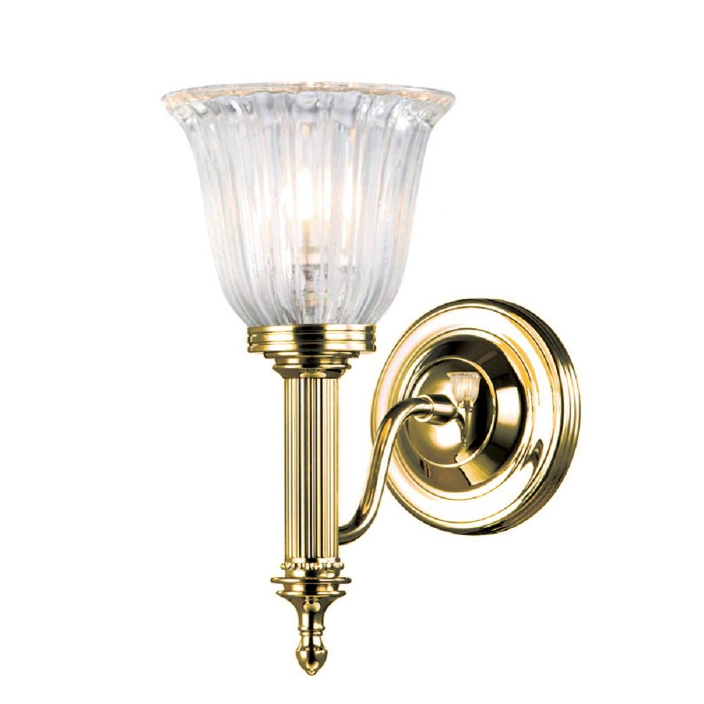 Victorian or edwardian gold polished brass wall light with for Gold bathroom wall lights