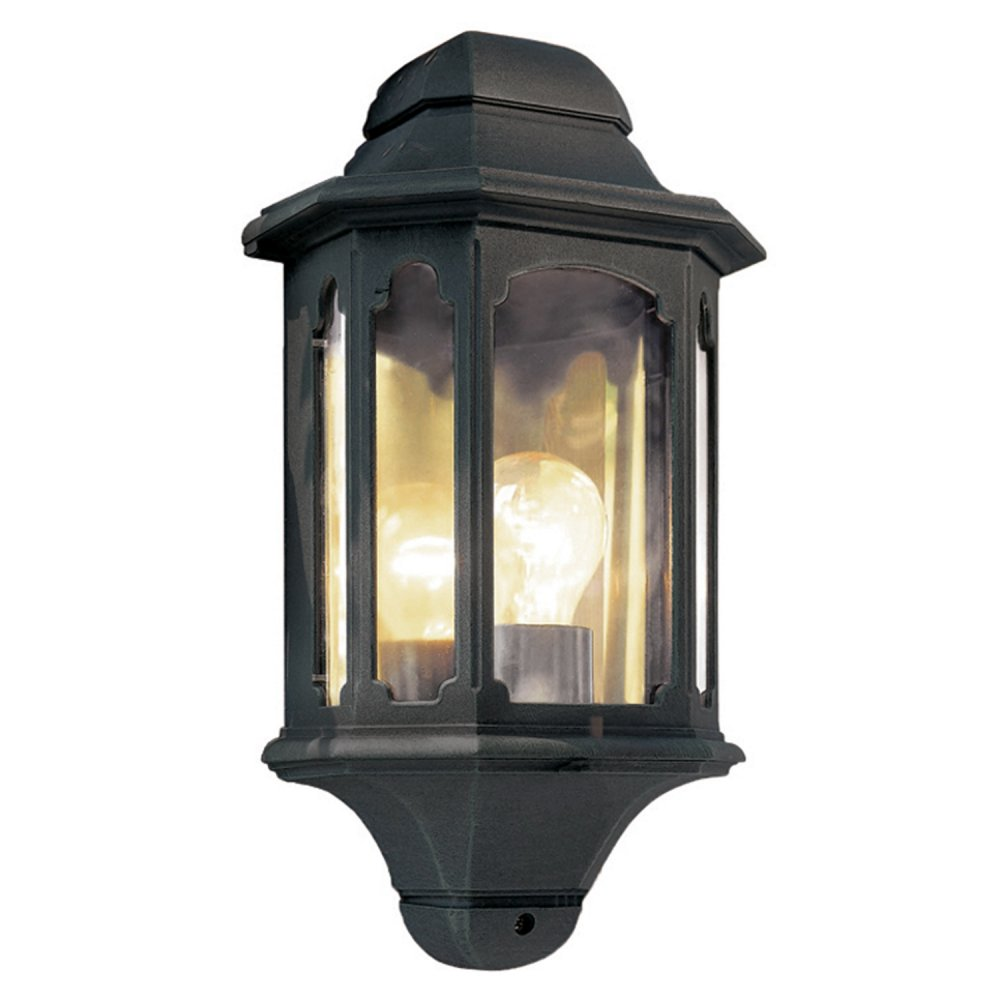 Flush External Wall Lights : Black Garden Wall Lantern, Half Lantern Fits Flush to Outside Wall