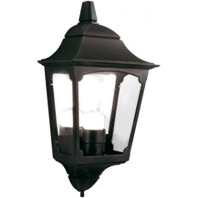 Black Aluminium Garden Wall Light, Flush Fitting Traditional Porch Light