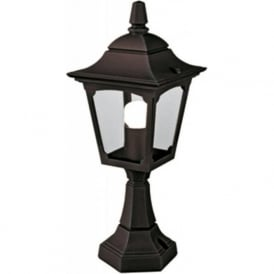 CHAPEL small garden pedestal or post light, black aluminium