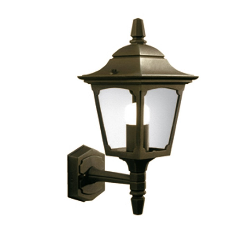Small Gold Wall Lights : Traditional Upward Facing Black Gold Aluminium Outside Wall Light, IP44