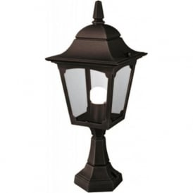 CHAPEL traditional garden pedestal or post light, black aluminium