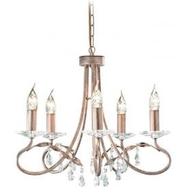 CHRISTINA dual mount 5 light Edwardian chandelier in silver/gold patina