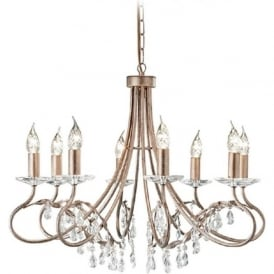 CHRISTINA dual mount 8 light Edwardian chandelier in silver/gold patina
