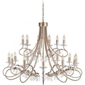 CHRISTINA large 18 light chandelier in silver/gold patina