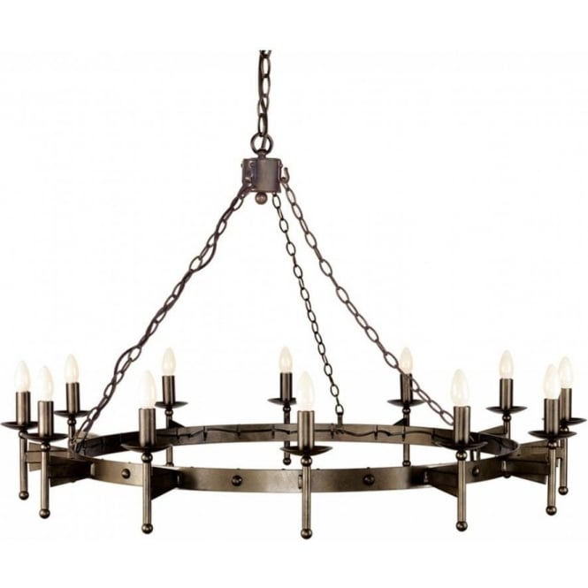 very large medieval wrought iron chandelier on chains circular 12 lights