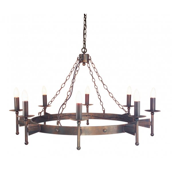 Medieval Wrought Iron Hoop Chandelier 8 Lights Old