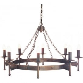 CROMWELL large wrought iron chandelier, Medieval style