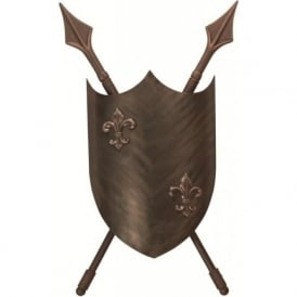 CRUSADER Medieval shield wall light, burnished bronze