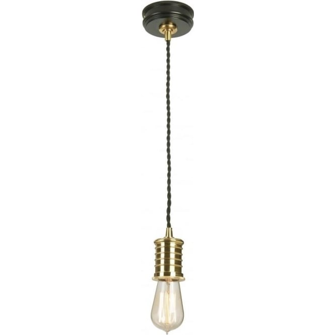 Chester Collection DOUILLE bare bulb lamp holder pendant - black with polished brass
