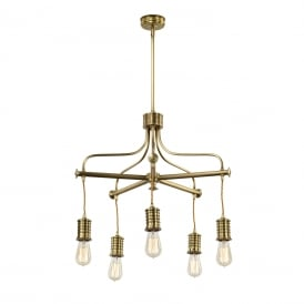 DOUILLE vintage industrial style bare bulb chandelier - aged brass