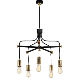 DOUILLE vintage industrial style bare bulb chandelier - black and brass