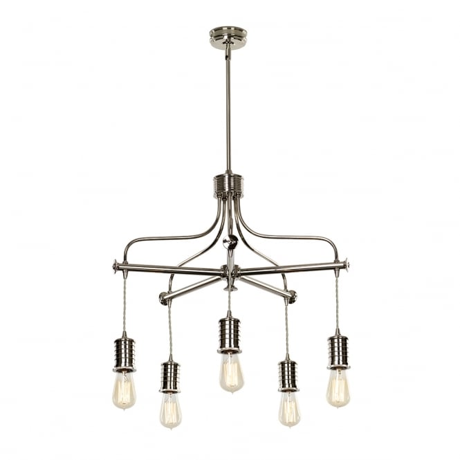Chester Collection DOUILLE vintage industrial style bare bulb chandelier - polished nickel