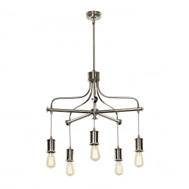 DOUILLE vintage industrial style bare bulb chandelier - polished nickel