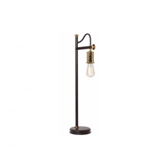 Chester Collection DOUILLE vintage industrial style bare bulb table lamp - black with brass highlights