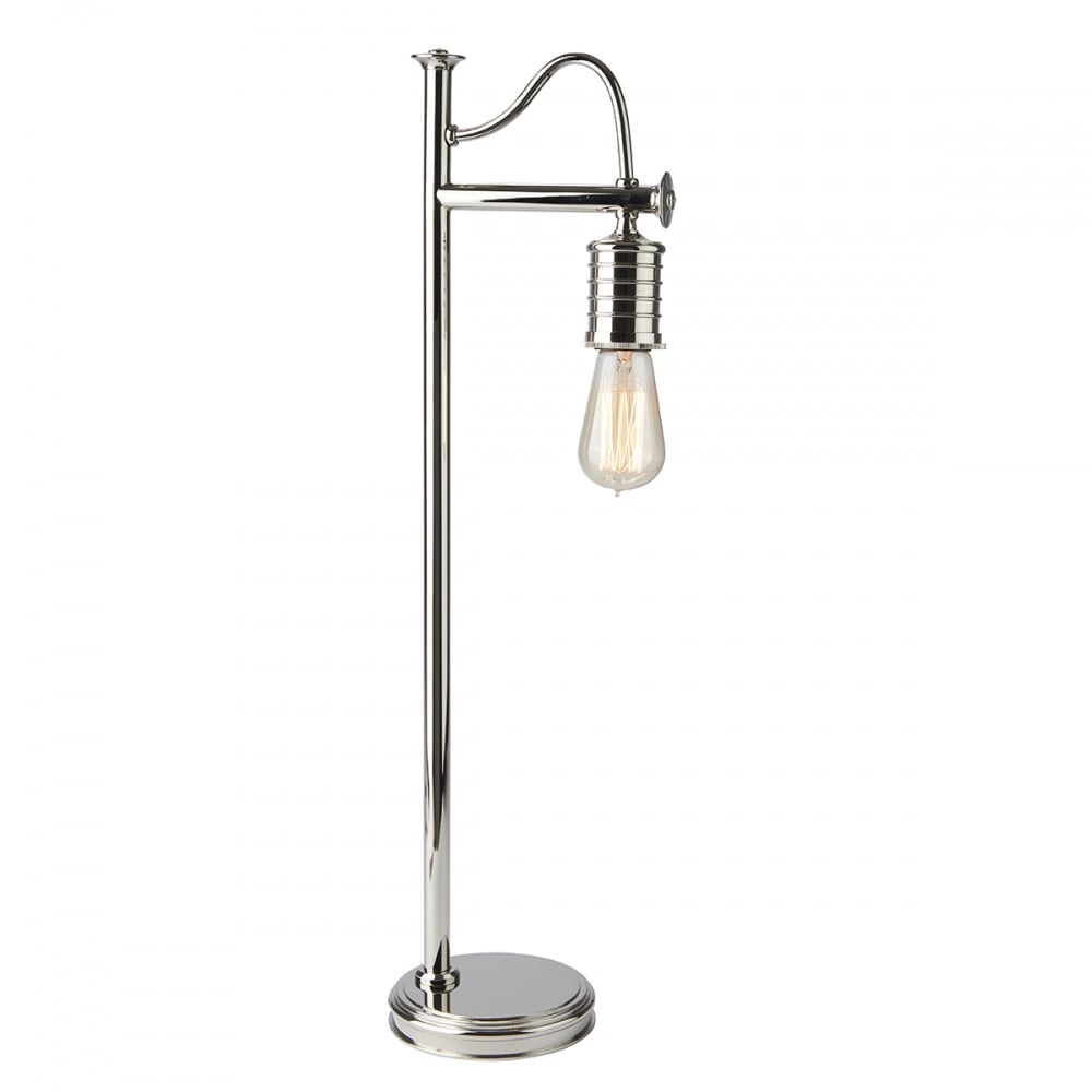 Charming DOUILLE Vintage Industrial Style Bare Bulb Table Lamp   Polished Nickel
