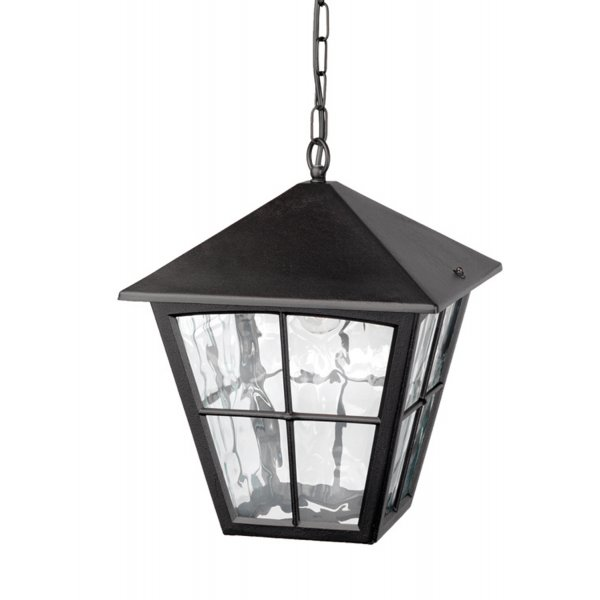 Porch Chain Lantern In Black Aluminium Ideal For Larger Homes