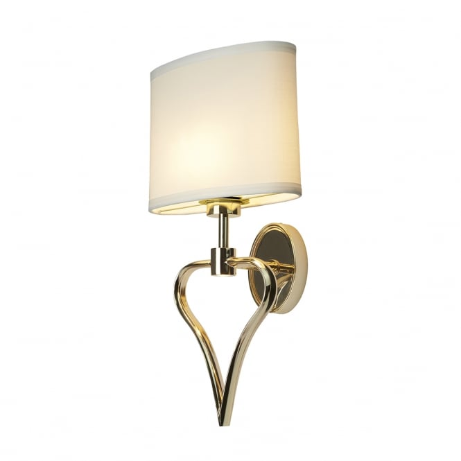 Chester Collection FALMOUTH IP44 heart shaped bathroom wall light with white shade