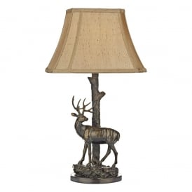 GULLIVER stag sculpture table lamp with shade - antique brass