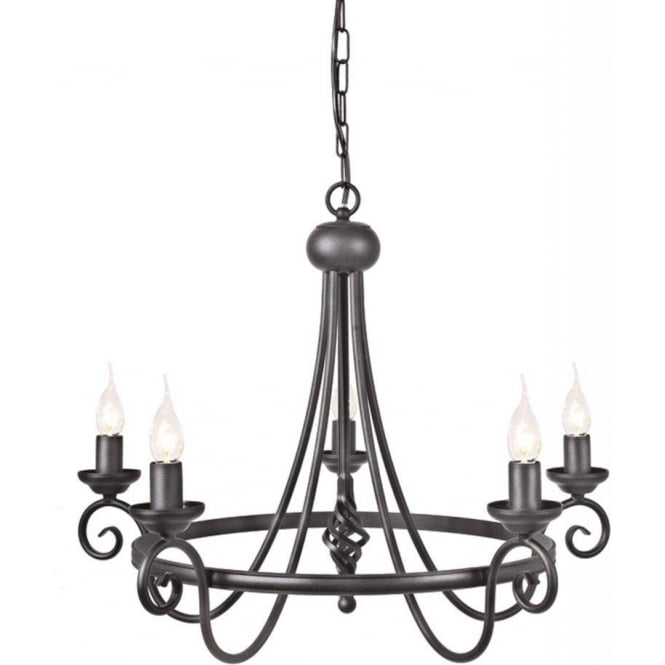 Chester Collection HARLECH Medieval style 5 light black ceiling pendant