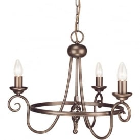 HARLECH Medieval style circular bronze ceiling pendant light