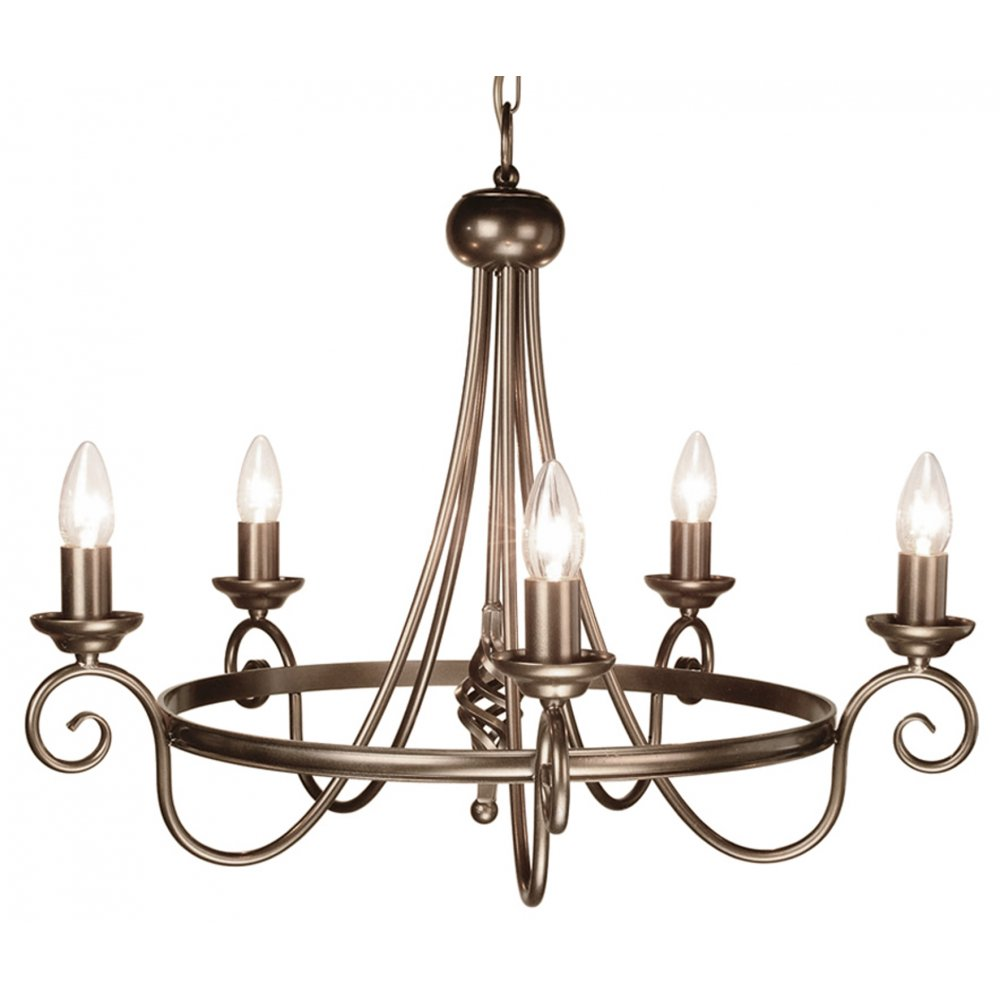 Me val Dark Bronze Chandelier Hanging on Chain 5 Candle