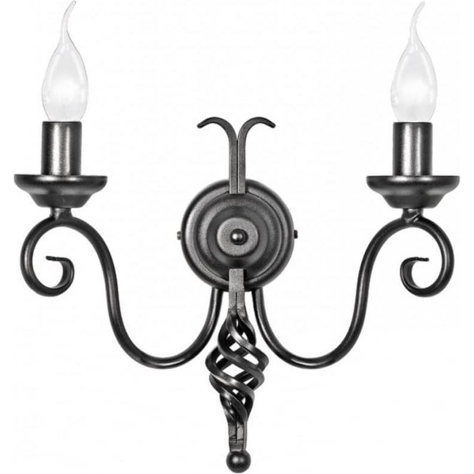 Chester Collection HARLECH traditional double black wall light