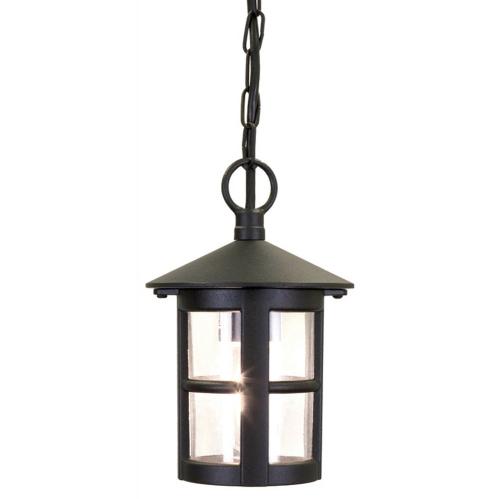 Circular Hanging Porch Lantern With Small Window Bars In Black Aluminium