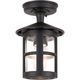 HEREFORD porch ceiling light, black aluminium