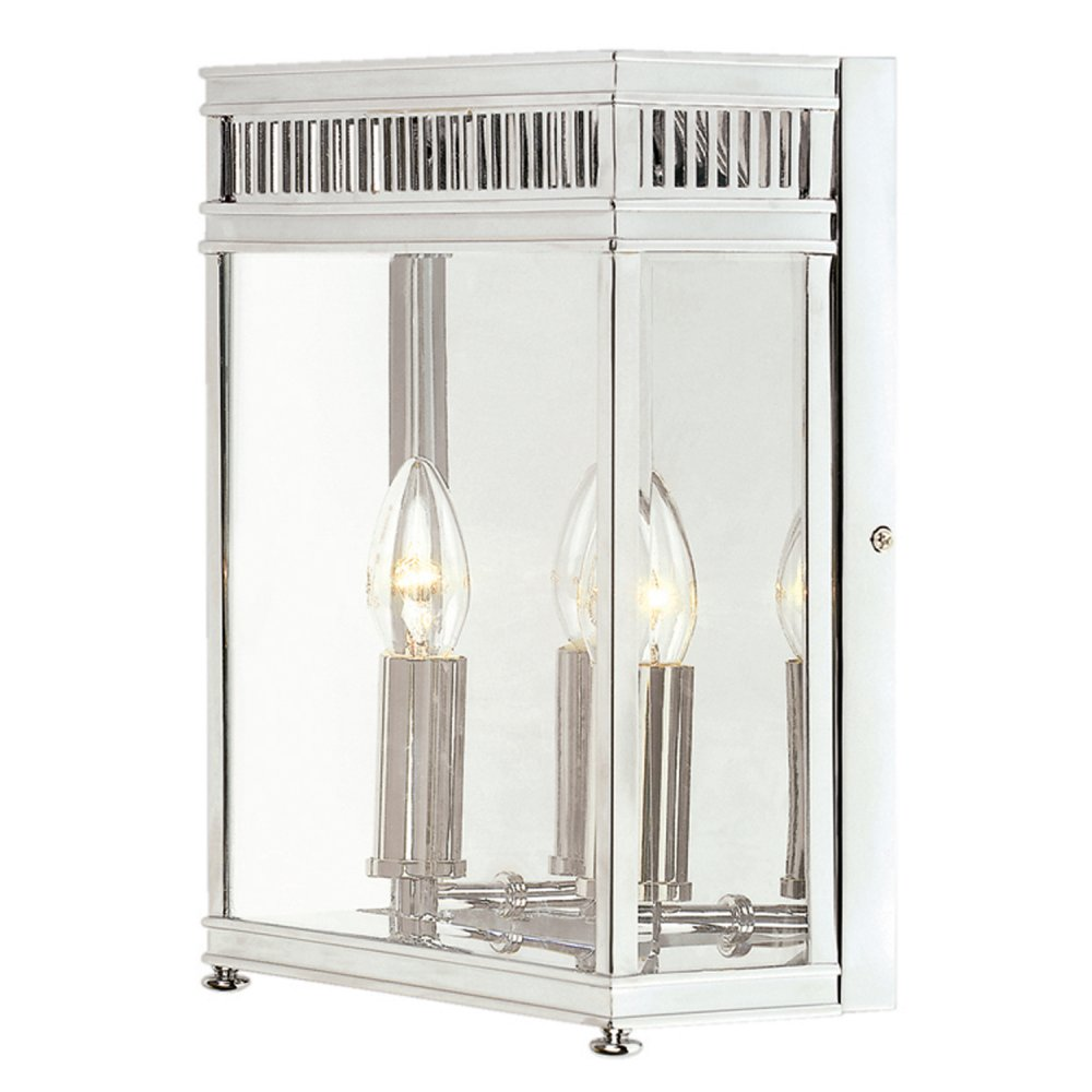 Chrome Garden Wall Lights : Large Flush Fitting Repoduction Wall Lantern for Outdoor or Indoor Use