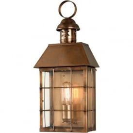 HYDE PARK solid antique brass flush outdoor wall lantern