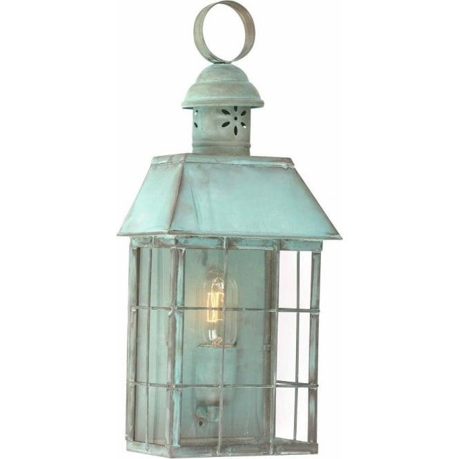 Wall Lantern External : Verdigris Copper Flush Fitting Outdoor Wall Light, Olde English Style