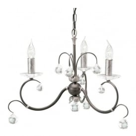 LUNETTA 3 light black/silver chandelier with crystal