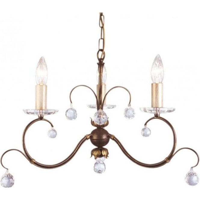 Chester Collection LUNETTA 3 light bronze patina chandelier with crystal