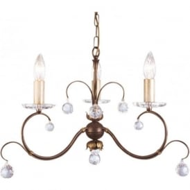 LUNETTA 3 light bronze patina chandelier with crystal