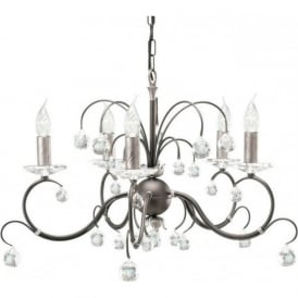 LUNETTA 5 light black/silver chandelier with crystal