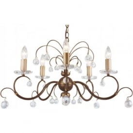 LUNETTA 5 light bronze patina chandelier with crystal