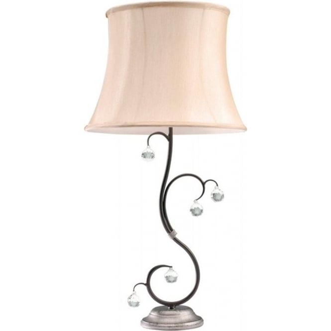 Chester Collection LUNETTA black silver table lamp with shade