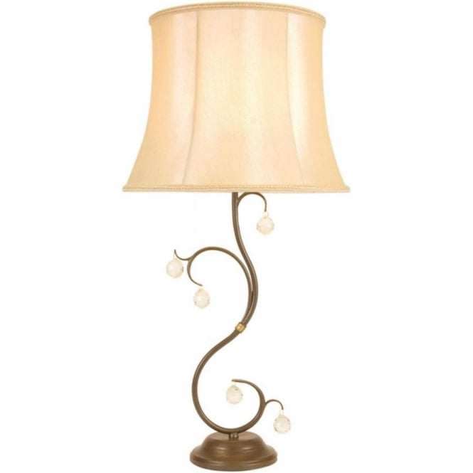 Chester Collection LUNETTA bronze patina table lamp with shade