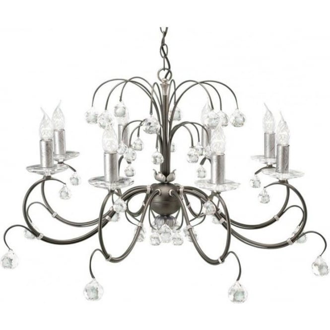 Chester Collection LUNETTA large 8 light black/silver chandelier with crystal