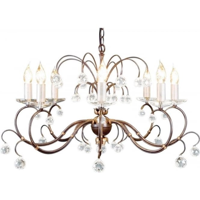 Chester Collection LUNETTA large 8 light bronze patina chandelier with crystal