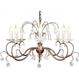 LUNETTA large 8 light bronze patina chandelier with crystal