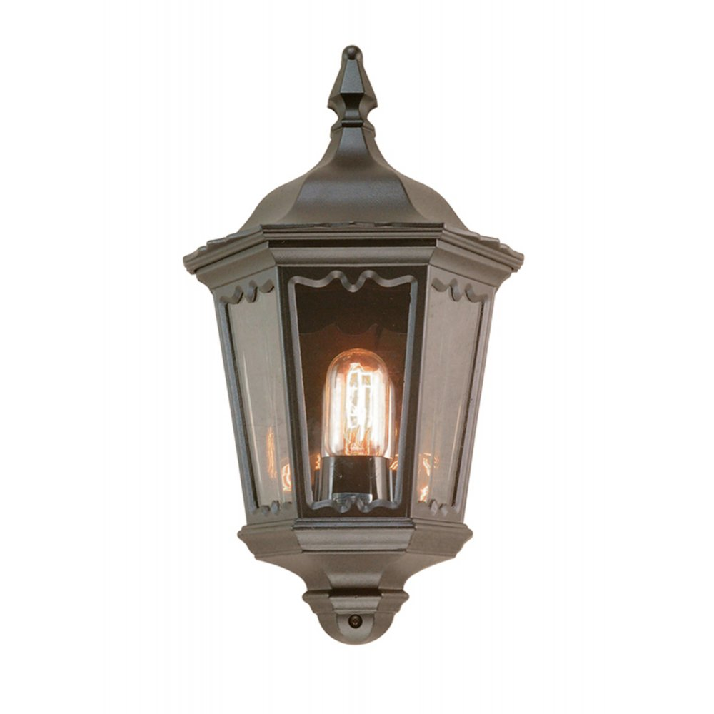 Traditional Garden Wall Lights : Traditional Black Flush Fitting Garden Wall Light in Period Styling