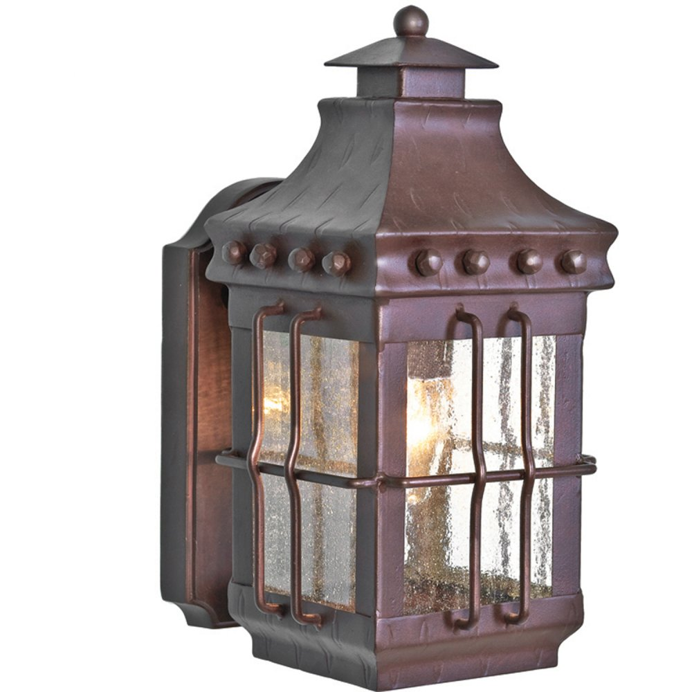 Traditional Wrought Iron Outside Wall Lantern, Leaded Glass Effect