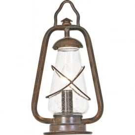 MINERS outdoor pedestal lantern, wrought iron with rustic finish