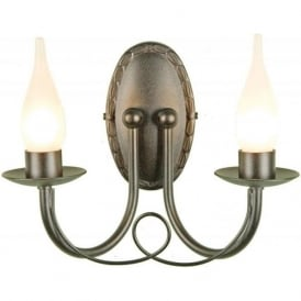MINSTER black candle style double bathroom wall light